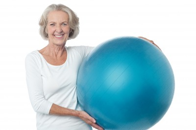 Lady with swiss ball